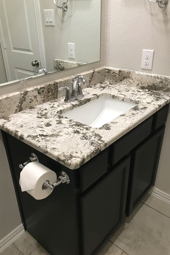 guest bathroom counters after