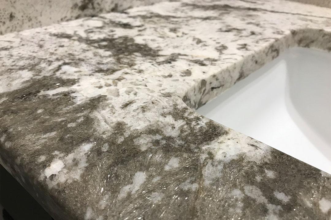 closeup of kids bathroom granite
