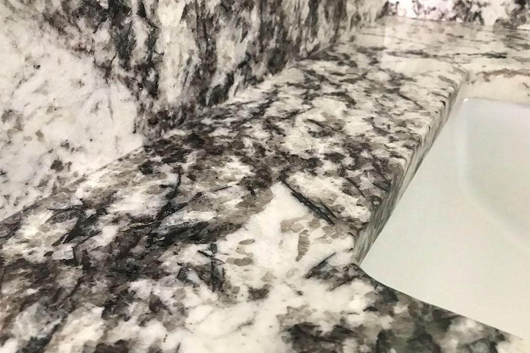 closeup of master bathroom granite
