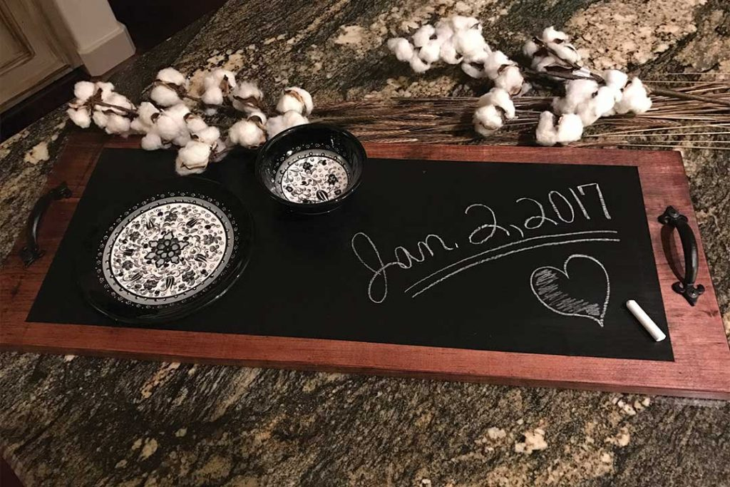 diy chalkboard serving tray, how to make a chalkboard serving tray, handmade wedding gift