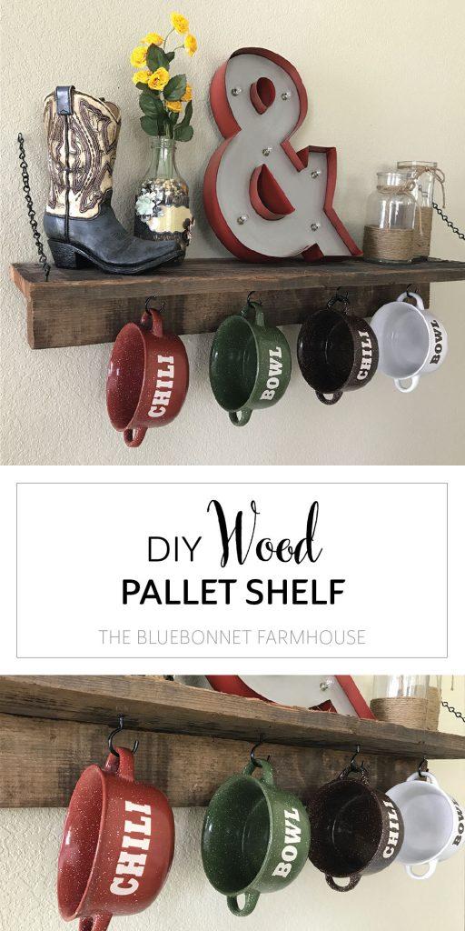 diy wood pallet and chain wall shelf, chili bowl shelf, coffee mug shelf