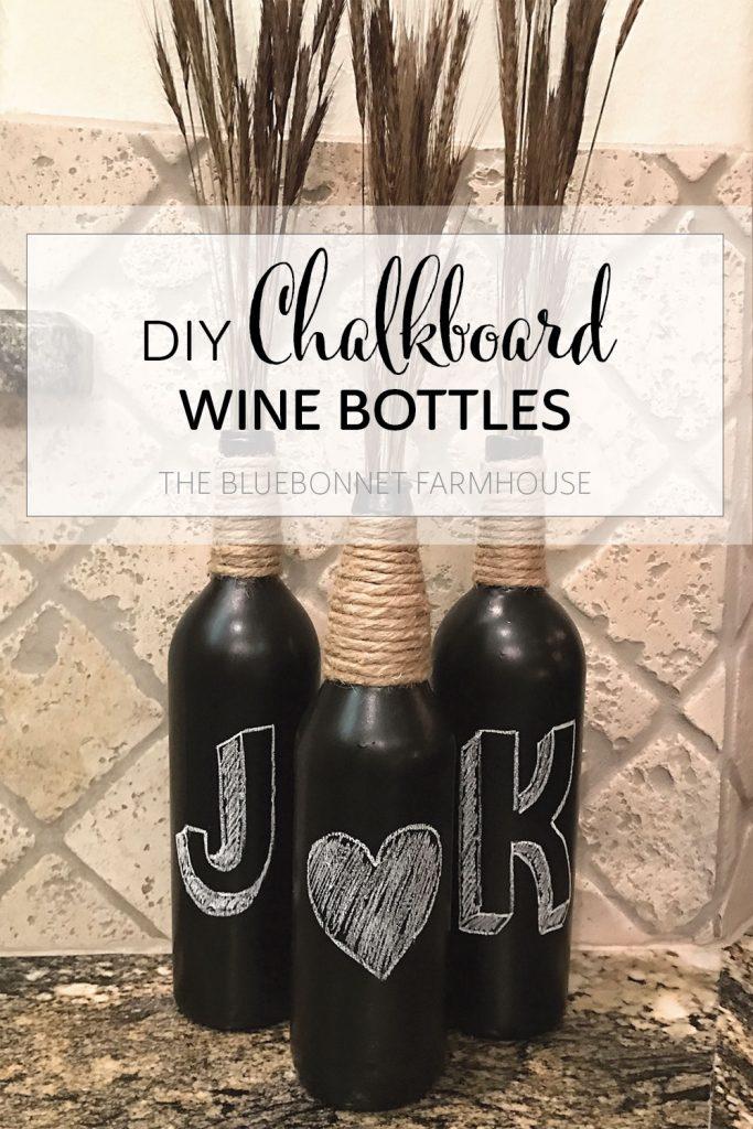 diy (how to make) chalkboard wine bottles
