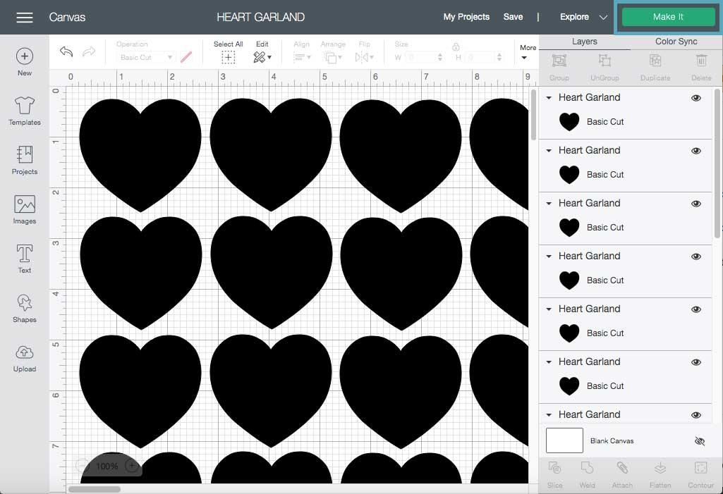 diy heart garland Cricut file