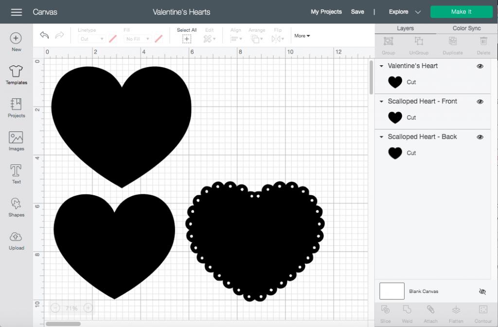 open the Valentine's Hearts Cricut file