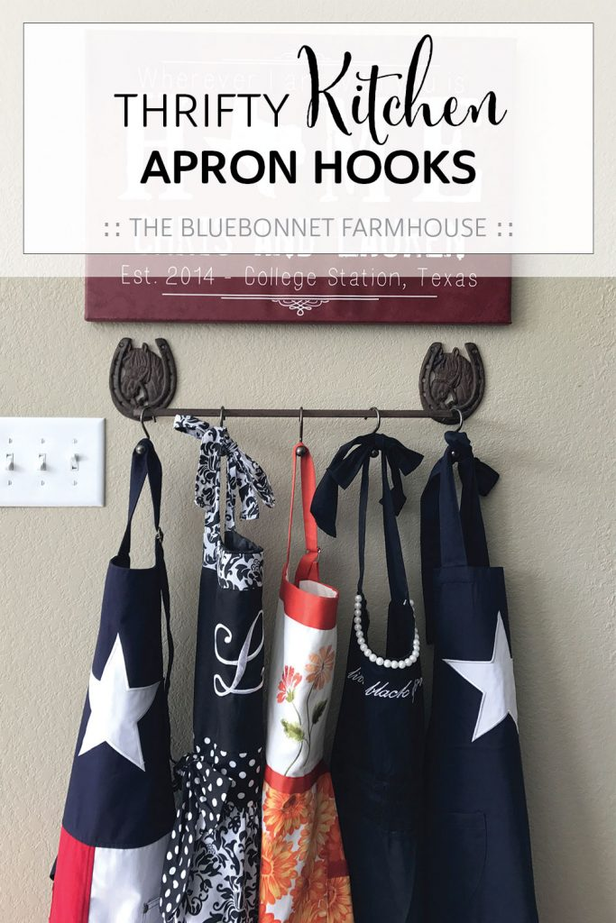 thrifty kitchen apron hooks, how to store kitchen aprons, how to hang kitchen aprons, farmhouse kitchen decor