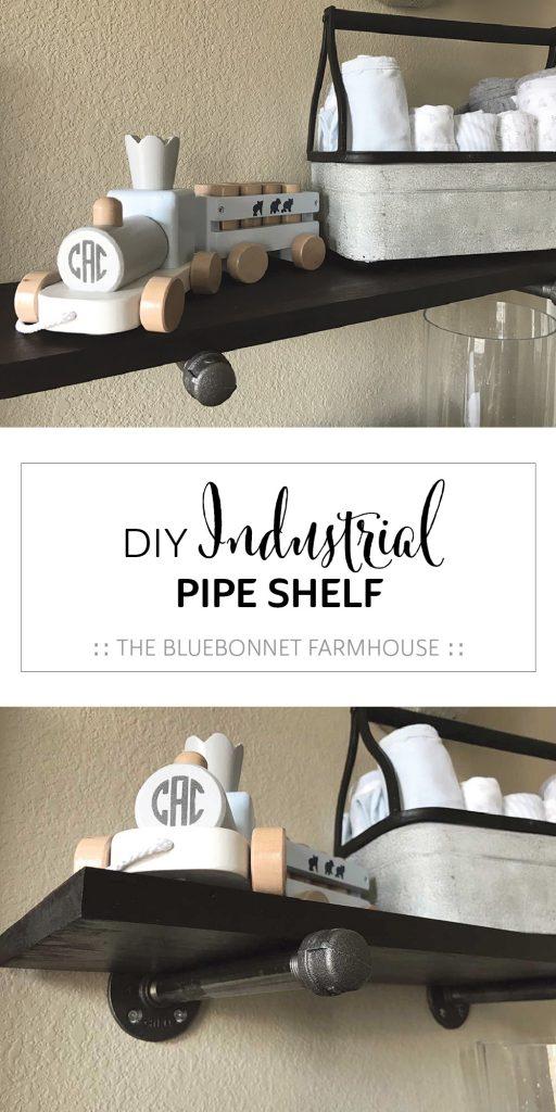 DIY industrial pipe shelf