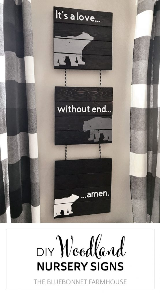 """""""it's a love without end, amen"""" DIY woodland nursery signs"""
