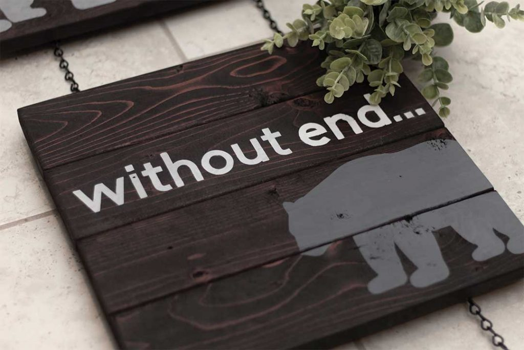 """""""Without End"""" woodland nursery sign completed"""