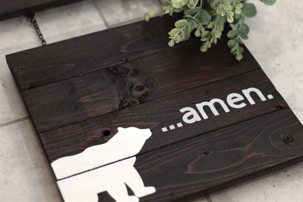 """""""Amen"""" woodland nursery sign completed"""